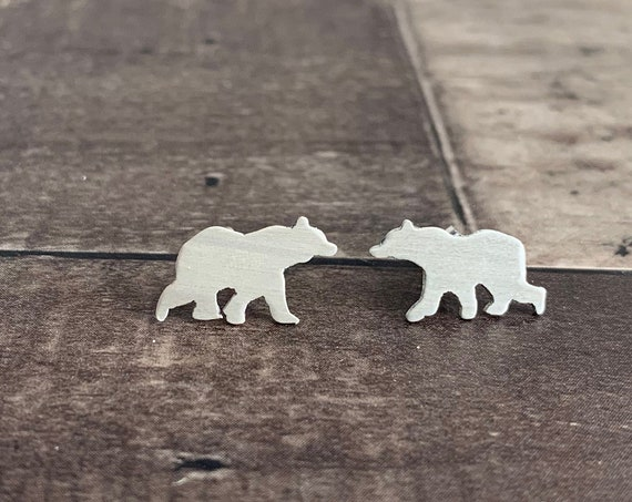 Sterling Silver Baby Bear Stud Earrings