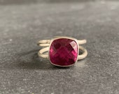 Sterling Silver and Natural Rhodolite Garnet Ring, Garnet Jewelry, Birthstone Ring, Mothers Day, Gift