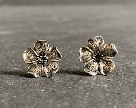 Sterling Silver Cherry Blossom Flower Stud Earrings