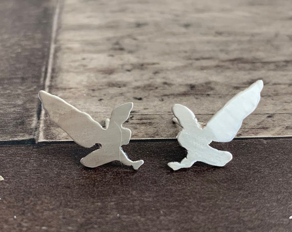 Sterling Silver Swooping Owl Stud Earrings