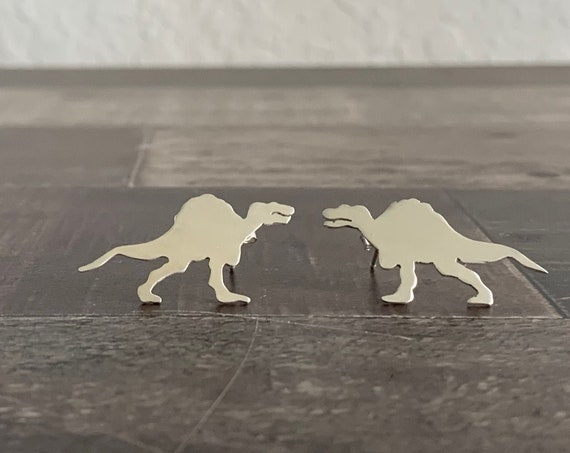 Sterling Silver Spinosaurus Dinosaur Stud Earrings