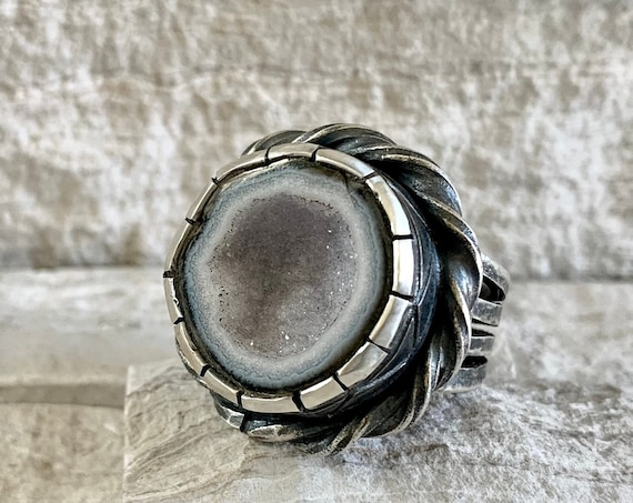 Sterling Silver and Tabasco Geode Men's Ring