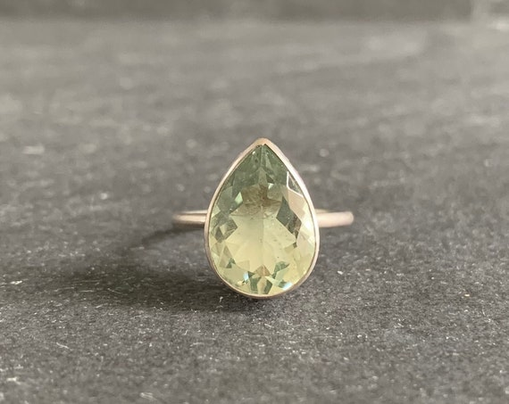 Sterling Silver and Natural Green Quartz Ring