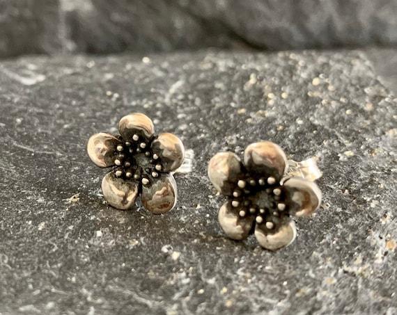 Sterling Silver Plum Blossom Earrings