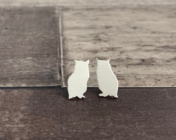 Sterling Silver Night Owl Stud Earrings