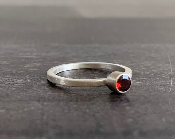 Custom Made Sterling Silver and Garnet Stackable Birthstone Ring