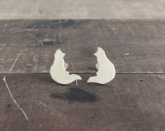 Sterling Silver Sitting Fox Stud Earrings
