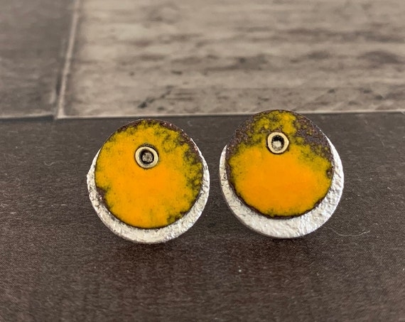 Textured Silver Pumpkin Enameled Stud Earrings