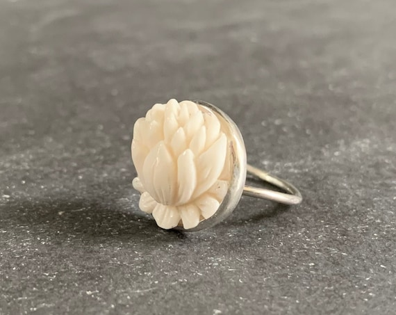 Sterling Silver Hand Carved Buffalo Bone Lotus Flower Ring