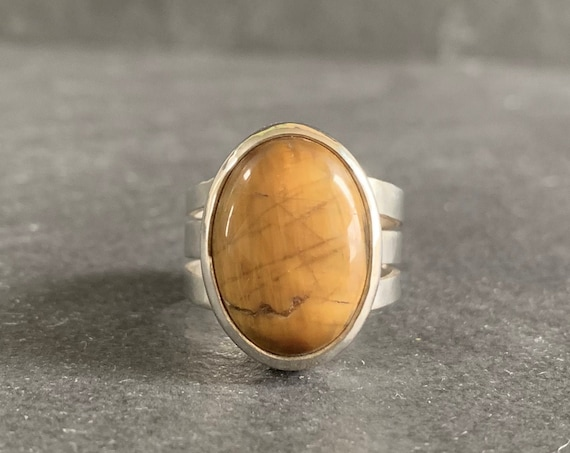 Sterling Silver and Natural Tigers Eye Ring