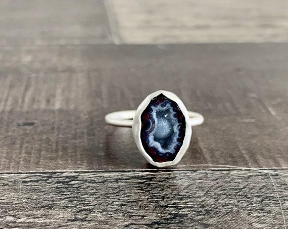 Custom Made Sterling Silver Mini Tabasco Geode Druzy Ring