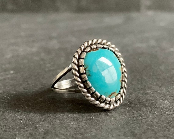 Native American Sterling Silver and Natural Bisbee Turquoise Ring