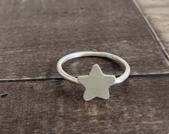 Sterling Silver Twinkling Star Ring, Silver Star Ring