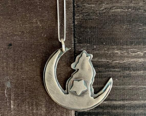 Native American Sterling Silver Wolf Zodiac Pendant Necklace