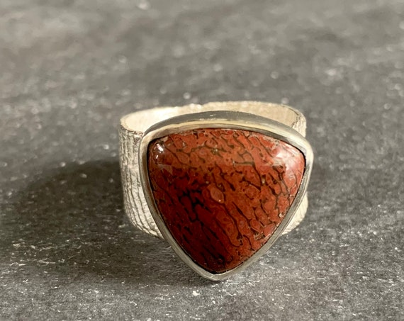 Sterling Silver and Natural Red Fossilized Dinosaur Bone Ring