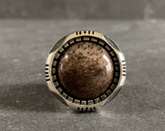 Sterling Silver and Natural Petrified Wood Ring