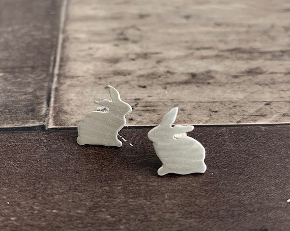 Sterling Silver Lucky Rabbit Stud Earrings
