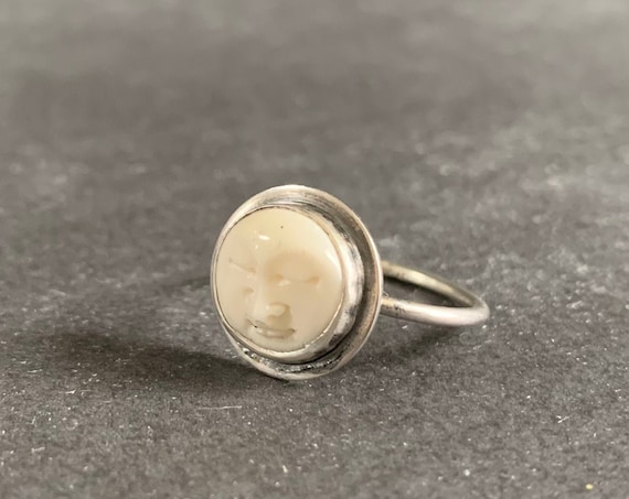 Sterling Silver Hand Carved Buffalo Bone Moon Face Ring