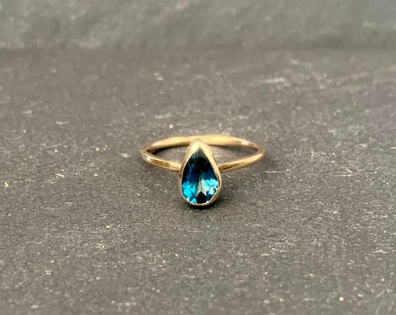 14K Solid Yellow Gold and London Blue Topaz Ring