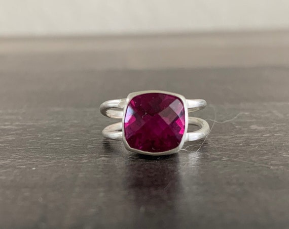 Sterling Silver and Natural Rose Color Rhodolite Garnet Ring