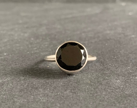 Sterling Silver and Black Spinel Ring