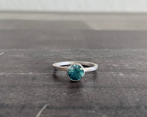 Custom Made Sterling Silver Blue Zircon Stackable Birthstone Ring