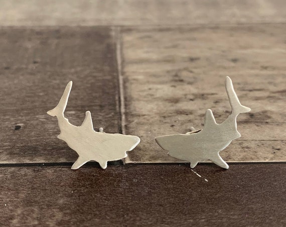 Sterling Silver Great White Shark Stud Earrings