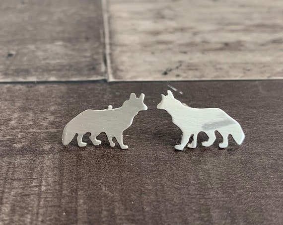 Sterling Silver Sly Fox Stud Earrings