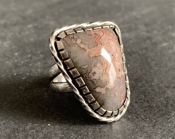 Sterling Silver and Natural Crazy Lace Agate Ring