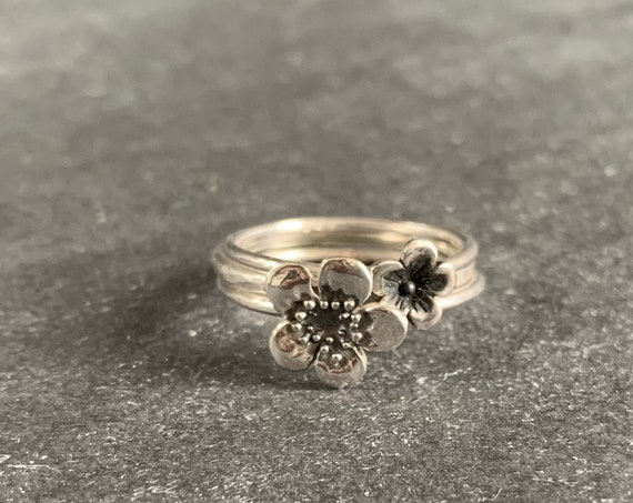 Sterling Silver Set of  3 Floral Stacking Rings