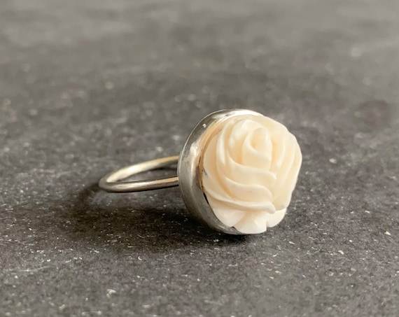 Sterling Silver Hand Carved Buffalo Bone Rose Ring