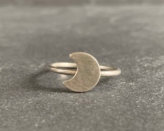 Sterling Silver Crescent Moon Ring, Silver Moon Ring