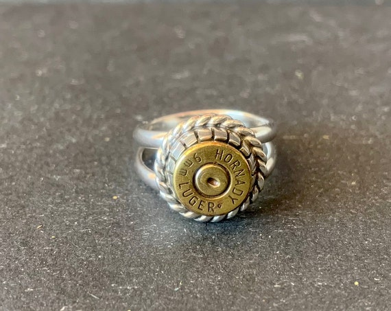 Custom Sterling Silver Bullet Shell Ring, Bullet Jewelry