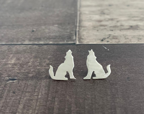 Sterling Silver Howling Wolf Stud Earrings