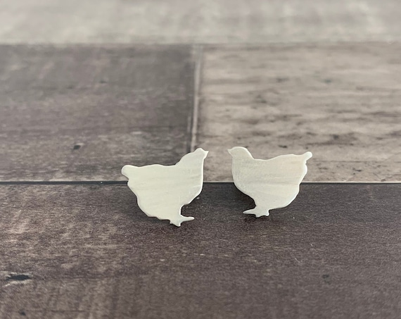 Sterling Silver Chicken Stud Earrings