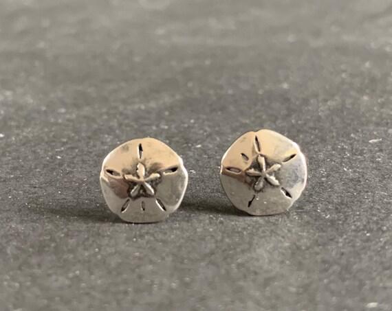 Sterling Silver Sand Dollar Stud Earrings
