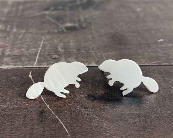 Sterling Silver Busy Beaver Stud Earrings