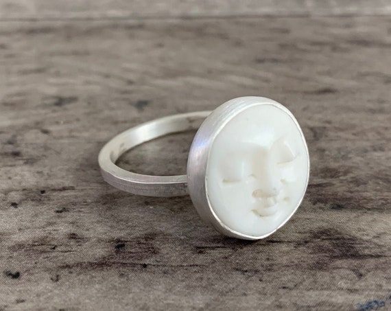 Sterling Silver Moon Face Ring, Man In The Moon Ring, Moon Ring, Buffalo Bone Ring, Sterling Silver Ring, Gift For Her - CUSTOM MADE