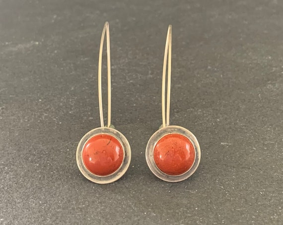 Sterling Silver and Natural Red Jasper Earrings, Jasper Earrings, Dangle Earrings Southwestern, Gift