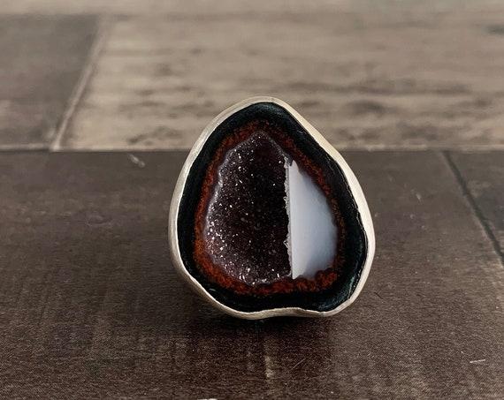 Tabasco Geode Druzy Ring, Sterling Silver Geode Ring