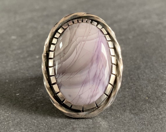Sterling Silver and Natural Purple Agate Ring