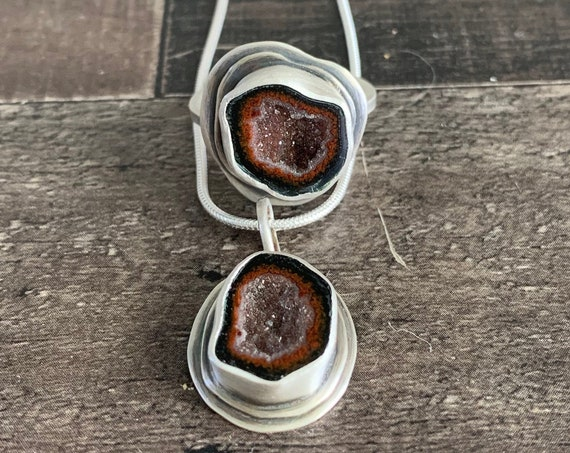 Custom Made Sterling Silver Large Druzy Tabasco Geode Jewelry Set