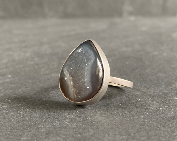 Sterling Silver and Natural Druzy Agate Ring