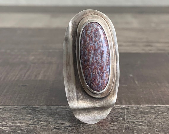 Sterling Silver and Natural Purple Fossilized Dinosaur Bone Ring