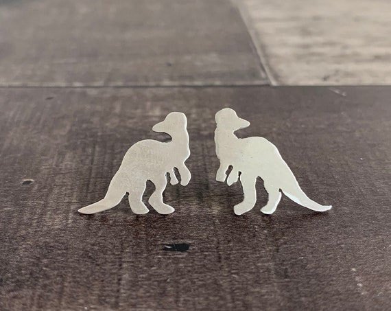 Sterling Silver Corythosaurus Dinosaur Stud Earrings