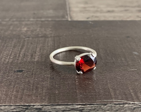 Sterling Silver and Natural Garnet January Birthstone Ring