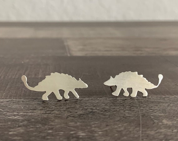 Sterling Silver Ankylosaurus Dinosaur Stud Earrings