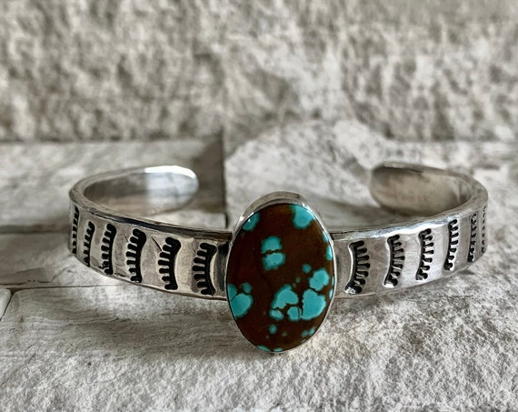 Sterling Silver Hand Stamped Native American Turquoise Cuff Bracelet