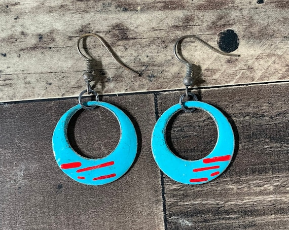 Torch Fired Turquoise Enamel Earrings