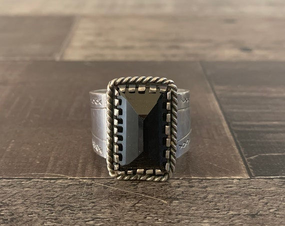 Sterling Silver and Black Spinel Men's Ring, Sterling Silver Ring, Men's Ring, Hand Stamped, Spinel, Silver Ring, Native American, Gift